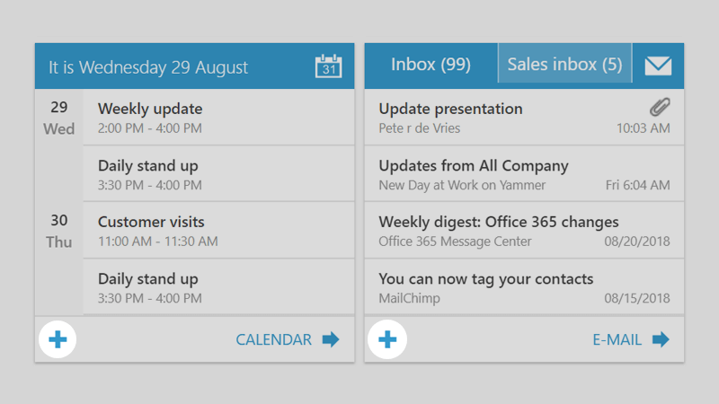 add email calendar live tiles Workspace 365