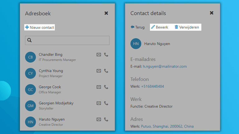 Contacten zijbalk Workspace 365