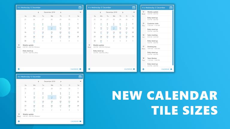 Calendar tile sizes Workspace 365