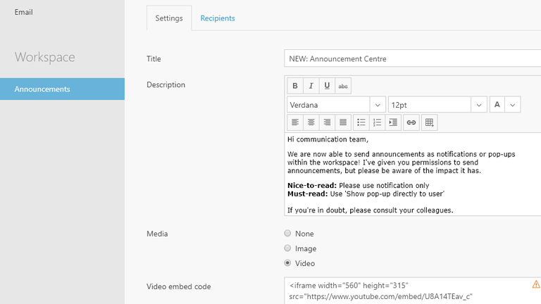 Create announcements in Workspace 365