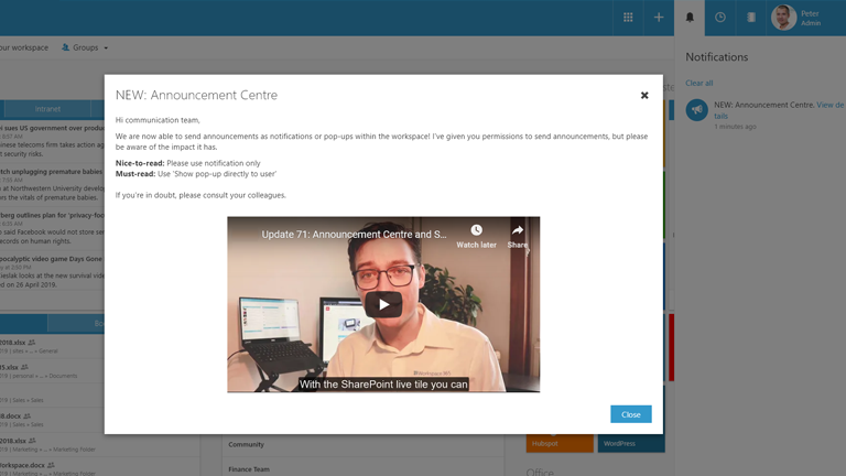 Receive announcements in Workspace 365