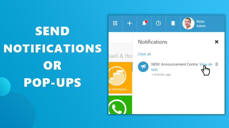 Send notifications pop-ups in Workspace 365