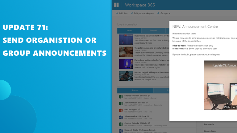 Update 71: Mededelingen en SharePoint Sites live tile